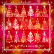 red  background with forest of christmas trees, vector