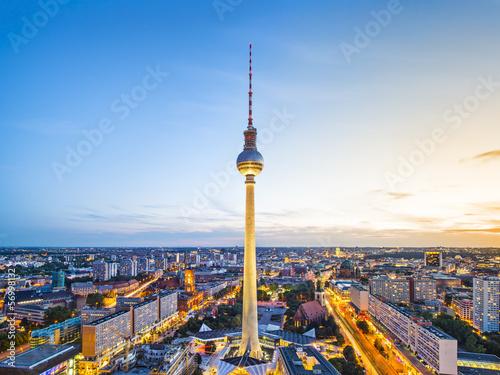 Spoed canvasdoek 2cm dik Berlijn Berlin, Germany Cityscape at Alexanderplatz