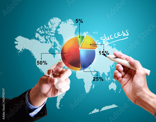 hands pushing strategy with pie chart diagram worldwide