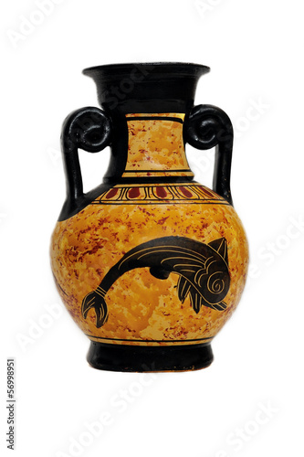 Ceramic vase from Greece isolated on white background
