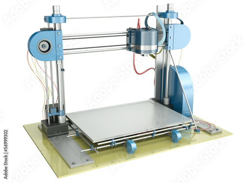 3D printer isolated on white background, 3D render.