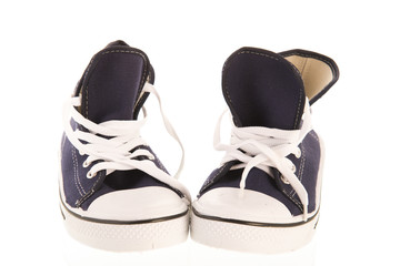 Pair of blue basketball shoes