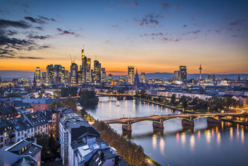 Frankfurt, Germany Financial District Skyline