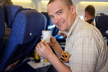 Man travelling by plane