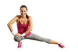 sportswoman doing stretching exersices poster