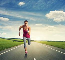 concentrated woman running
