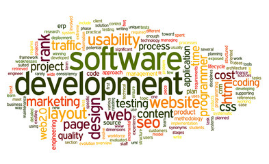 Software development concept in tag cloud