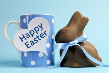 Blue theme polka dot coffee mug with chocolate bunny