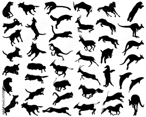 Silhouettes of animals in the high jump, vector illustration