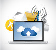 laptop app cloud computing illustration design