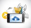 phone app cloud computing illustration design