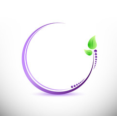 purple and green leaves illustration