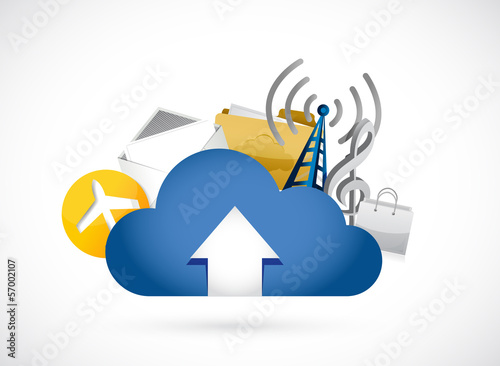 cloud computing upload concept illustration