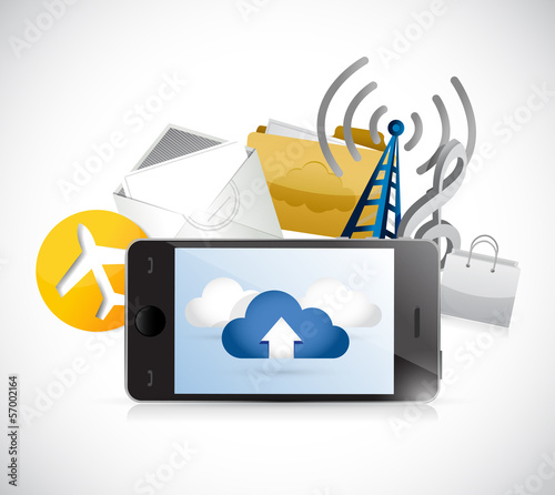 phone app cloud computing illustration design