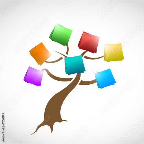 tree with post messages illustration design