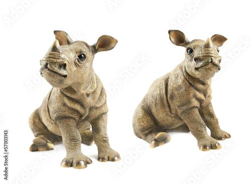 Deurstickers Neushoorn Rhinoceros rhino sculpture