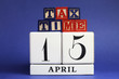 USA Tax Day April 15 calendar with Tax Time message