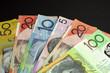 Australian paper money with black copy space