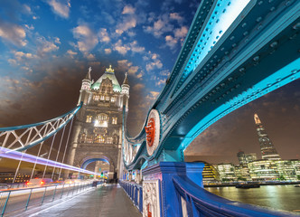 London. Magnificence of Tower Bridge with its beautiful night co