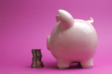 Pretty pink piggy bank with stack of coins