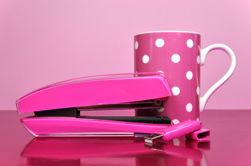 Pretty feminine pink office accessories