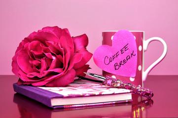 Feminine pink coffee break office desk