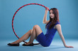 Dance hoop Beautiful woman in blue