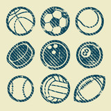 Grunge Sport Balls Stamp Icons