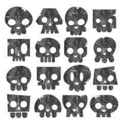 Grunge Skull Stamps Icons