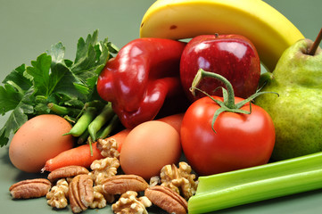 Group of wholesome diet of organic food