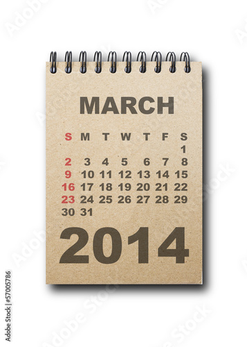 calendar 2014 on recycle paper