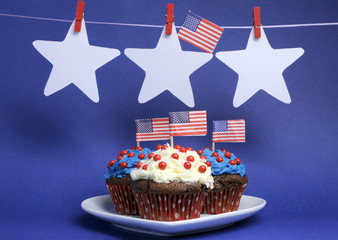 Fourth of July party cupcakes and bunting decorations