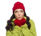 Chilly Mixed Race Woman Wearing Winter Hat and Gloves