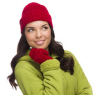 Mixed Race Woman Wearing Hat and Gloves Looking to Side.