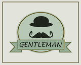gentleman template banner with mustache and derby hat
