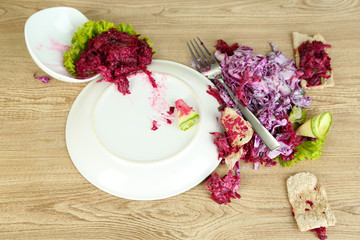 Overturned plate of food on floor
