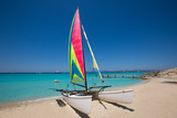 Catamaran sailboat in Illetes beach of Formentera