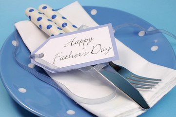 Happy Fathers Day blue table place setting