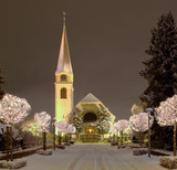 Street and Church in Wallisellen, Illuminated for the Christmas
