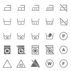 Laundry icons on white background