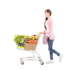 happy young woman with  shopping cart