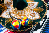 Pair of maracas and traditional mexican sombrero