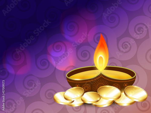 diwali diya with gold coins
