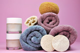 Pink and purple beauty spa towels & accessories