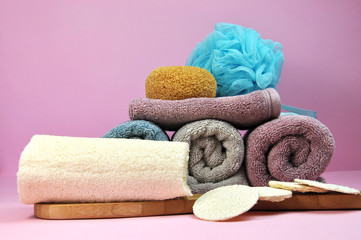 Pink and purple beauty spa towels & loofah