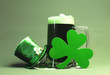 canvas print picture - St Patrick's Day green beer, shamrock and leprechaun hat