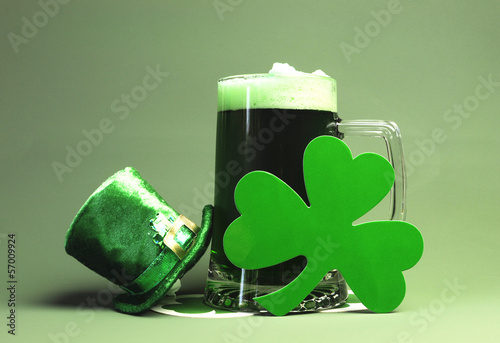 St Patrick's Day green beer, shamrock and leprechaun hat