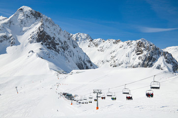 Winter Pyrenees with a ski lift