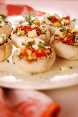 Stuffed mushrooms with gorgonzola, walnuts and red pepper