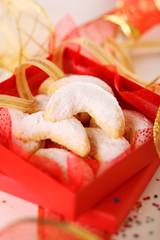 Vanilla cookies in red box- Christmas cookies